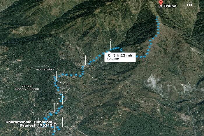 triund trek map