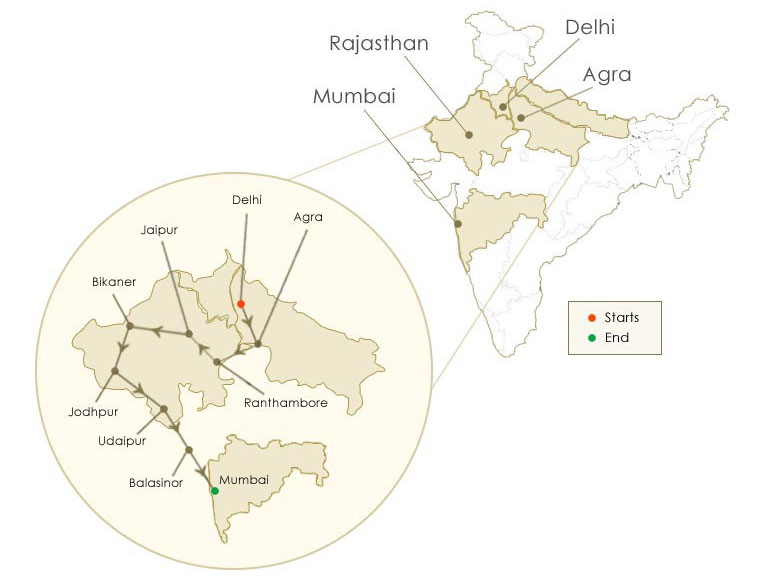 maharaha express the indian panorma route map