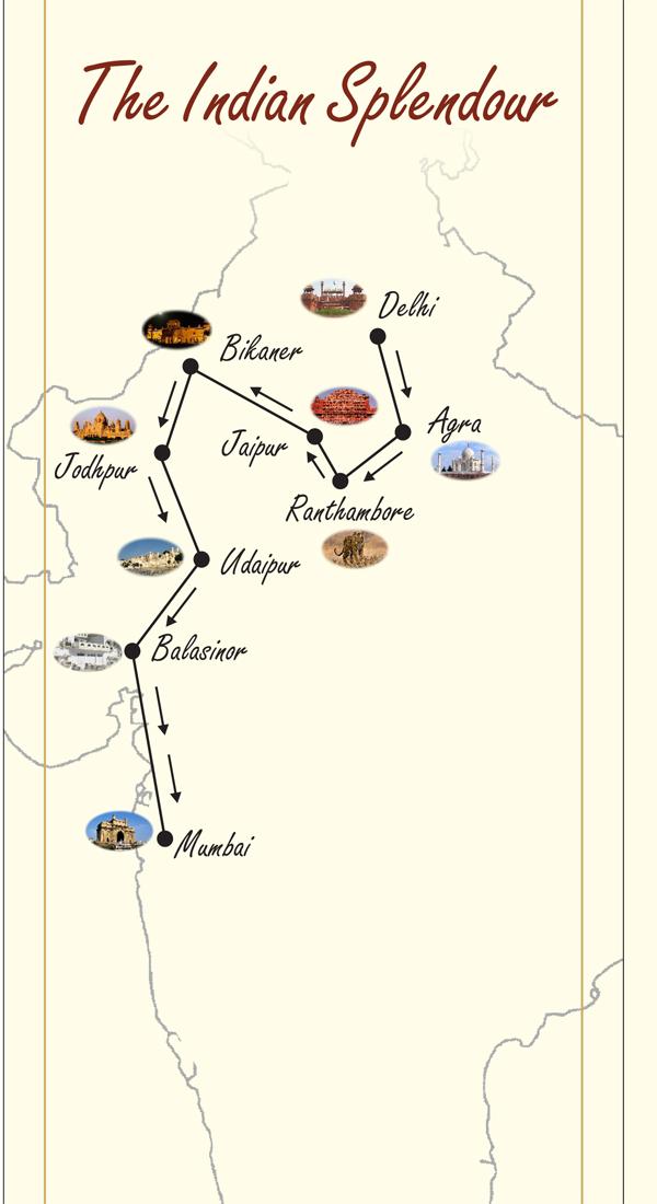 maharaha express indian splendour route map